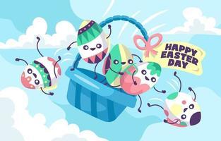 Parachute d'oeufs drôle décoré prêt pour Pâques vecteur