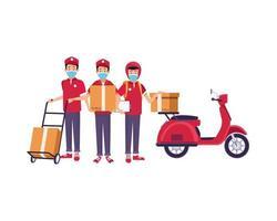 livreurs avec masques faciaux en moto et chariot vecteur