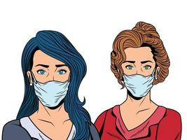 femmes utilisant des masques faciaux pour covid19 vecteur