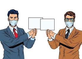 hommes d & # 39; affaires utilisant des masques pour covid19 avec des bannières vecteur