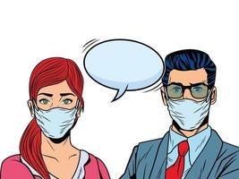 couple d'affaires à l'aide de masques faciaux pour covid19 avec bulle de dialogue vecteur