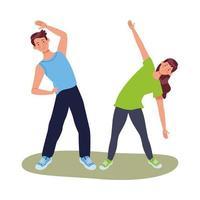 jeunes athlètes exerçant ensemble vecteur