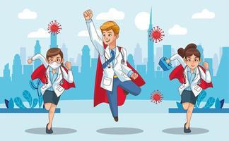 super médecins avec des capes de héros vs covid19 dans la ville vecteur