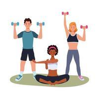 athlètes interraciaux s'exerçant ensemble