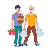 hommes utilisant des masques faciaux dans un supermarché vecteur