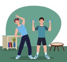 hommes pratiquant l & # 39; exercice dans la maison vecteur