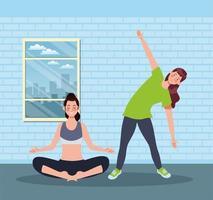 femmes pratiquant l & # 39; exercice dans la maison vecteur