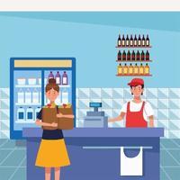 femme, achats, dans, supermarché, à, masque visage vecteur