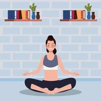 femme pratiquant le yoga dans la maison vecteur
