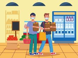 hommes, shopping, dans, supermarché, à, masque visage vecteur