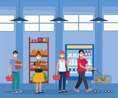 gens, achats, dans, supermarché, à, masque facial vecteur