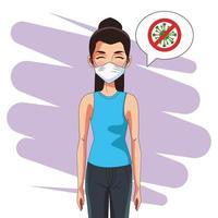 femme utilisant un masque facial et arrêter le signal covid19 vecteur