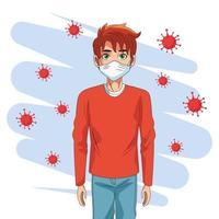 homme utilisant un masque facial et des particules de covid19 vecteur