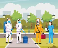 infirmière avec une personne de nettoyage de biosécurité vecteur