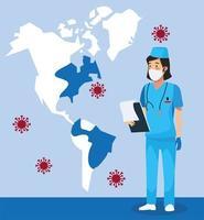 infirmière avec cartes américaines et particules de covid 19 vecteur