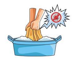 lavage des vêtements méthode de prévention de la pandémie de covid19 vecteur