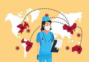 infirmière avec des cartes de la terre et des particules de covid 19 vecteur