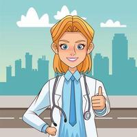 femme médecin avec les pouces vers le haut vecteur