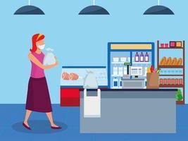 femme, utilisation, masque facial, dans, supermarché vecteur