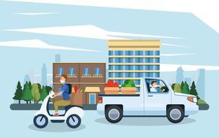 hommes en masque facial livrant des produits d'épicerie dans des motos et des camions vecteur