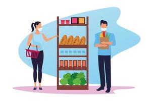 couple utilisant des masques faciaux dans un supermarché vecteur