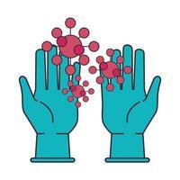 gants en caoutchouc avec particules covid19 vecteur