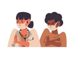 femme médecin avec patient utilisant des masques faciaux vecteur