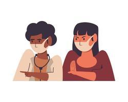 femme médecin noire avec patient à l'aide de masques faciaux vecteur