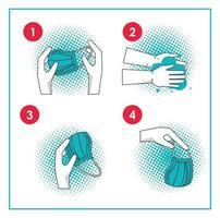comment retirer le masque chirurgical covid19 infographie vecteur