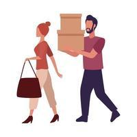 jeune couple portant des vêtements à la mode et portant des boîtes à provisions vecteur