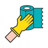 main avec icône de rouleau de papier toilette