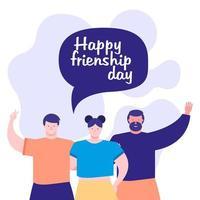 célébration de la journée de l'amitié avec les jeunes et la bulle de dialogue vecteur