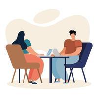 jeune couple à l'aide d'ordinateurs portables à l'intérieur vecteur