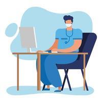 médecin de sexe masculin professionnel avec stéthoscope à l'aide d'un ordinateur vecteur