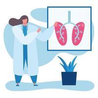 femme médecin professionnelle avec des poumons humains vecteur