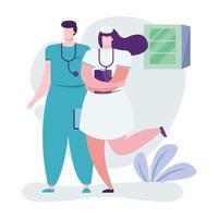 médecins professionnels avec presse-papiers vecteur