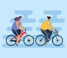 personnes avec des masques faciaux à vélo à l'extérieur vecteur