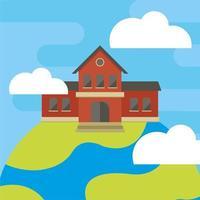 façade de bâtiment scolaire sur terre vecteur