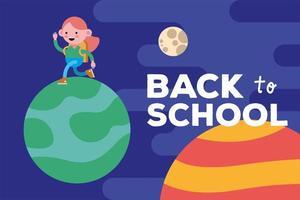 retour à la bannière de l & # 39; école avec une fille étudiante marchant sur une planète vecteur
