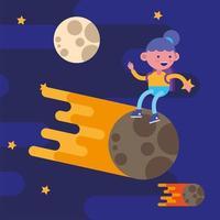 petite écolière sur la lune vecteur