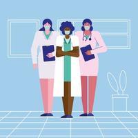 femmes médecins professionnelles portant des masques médicaux vecteur