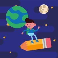petit garçon étudiant volant sur un crayon vecteur