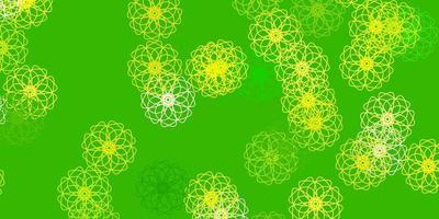 fond de doodle vecteur vert clair, jaune avec des fleurs.
