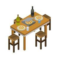 table de cuisine isométrique sur fond blanc