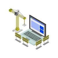 site Web en construction isométrique sur fond blanc