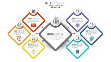infographie élément de couleur en 6 étapes avec diagramme graphique de cercle, conception de graphique d'entreprise.