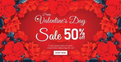 belle bannière de vente heureuse Saint-Valentin ou une affiche avec des fleurs roses rouges. illustration vectorielle dessinés à la main. vecteur