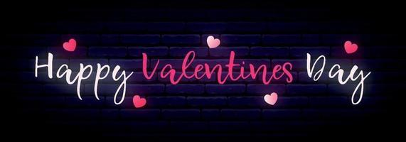 longue bannière néon avec inscription happy valentines day vecteur
