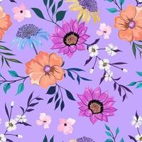 modèle sans couture coloré avec dessin floral botanique sur fond clair. vecteur