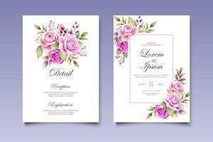carte d'invitation de mariage avec de belles fleurs et feuilles vecteur